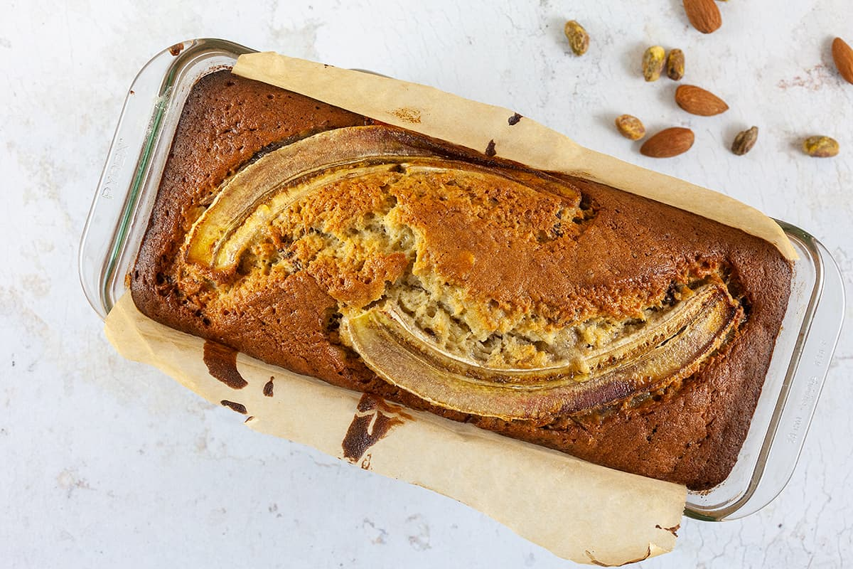 Banana bread with nuts and chocolate