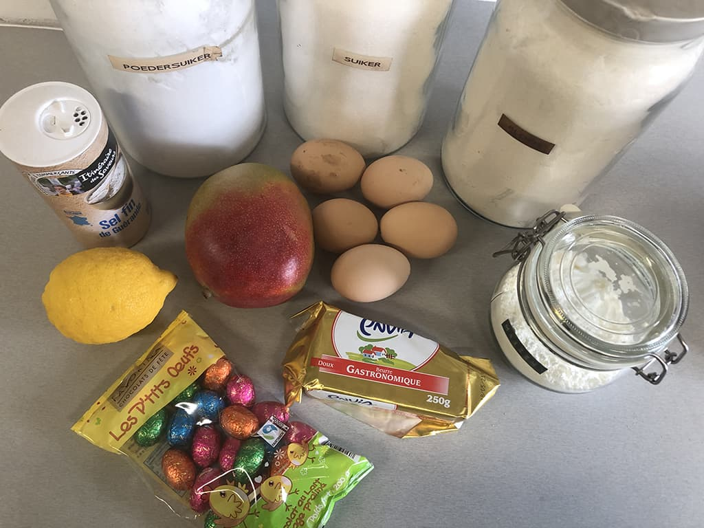 Easter cake roll with mango ingredients