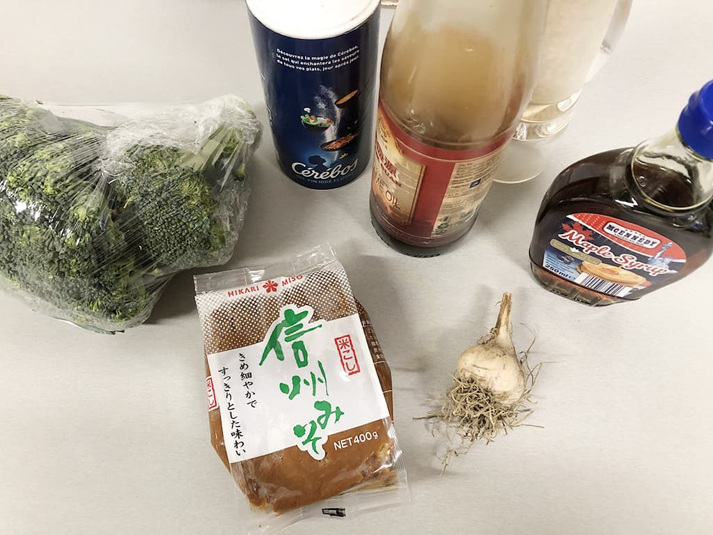 Miso roasted broccoli ingredients