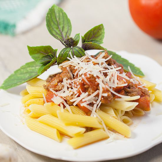 Pasta penne with bolognese sauce