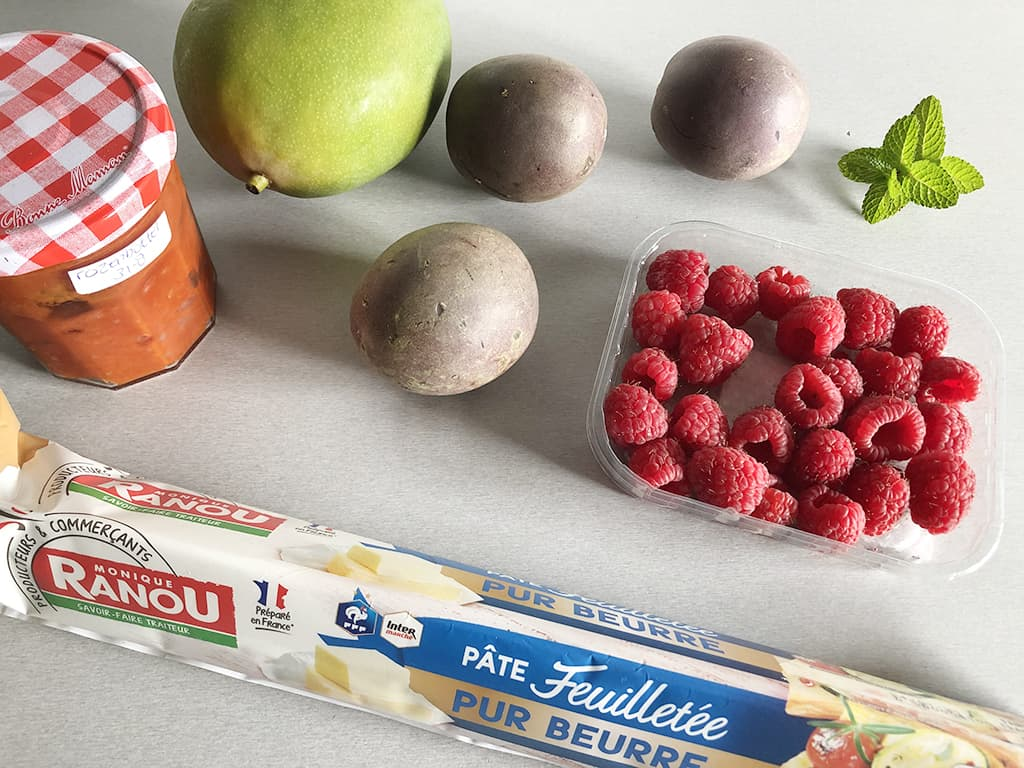 Puff pastry fruit and rosehip tart ingredients
