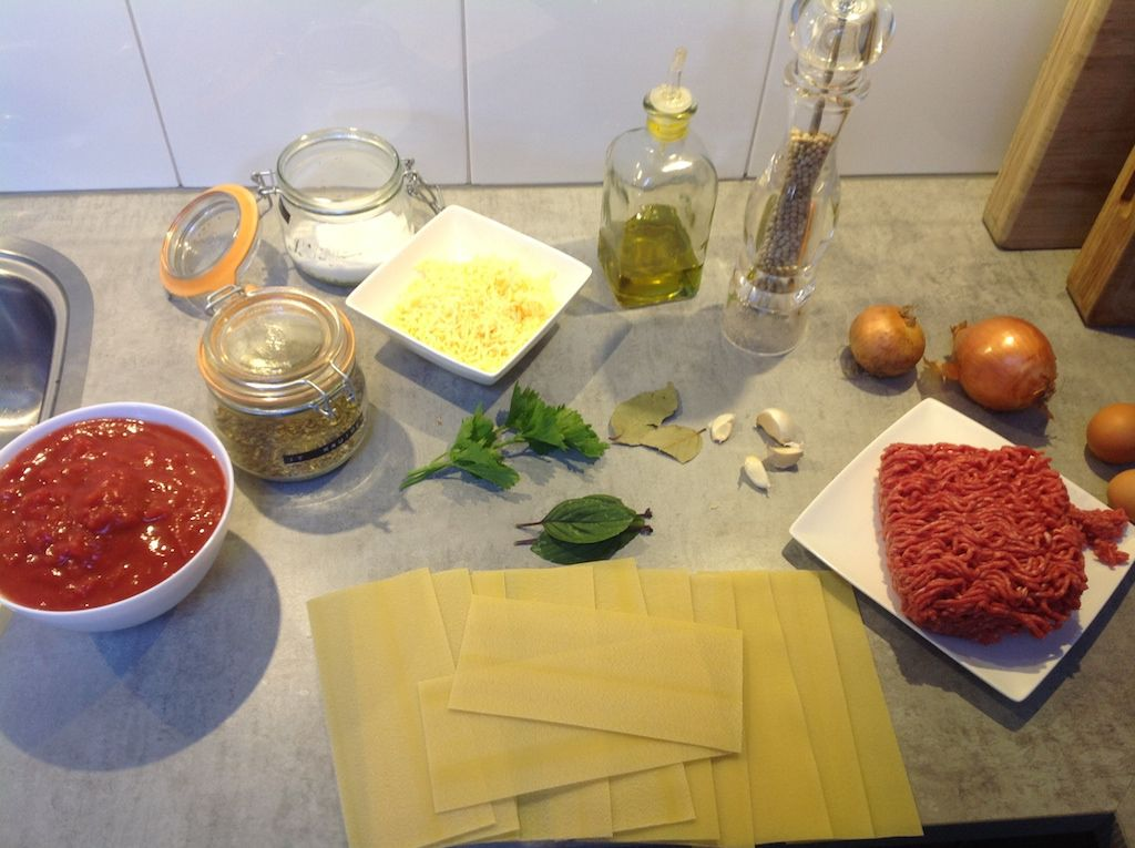 Italian lasagna ingredients