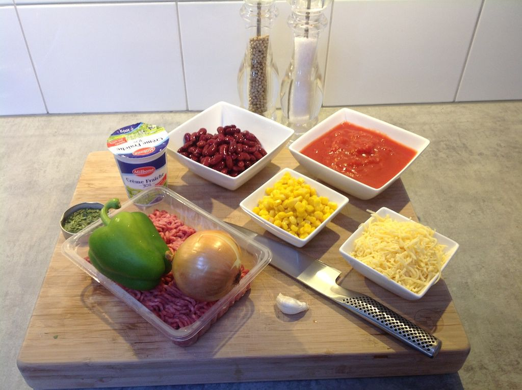 Kidney beans and corn casserole ingredients