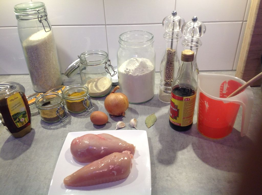 Ingredients for chicken katsu curry