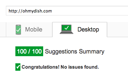 Ohmydish pagespeed insights 100.100