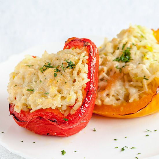 Risotto stuffed bell peppers square - Stuffed bell peppers with risotto rice