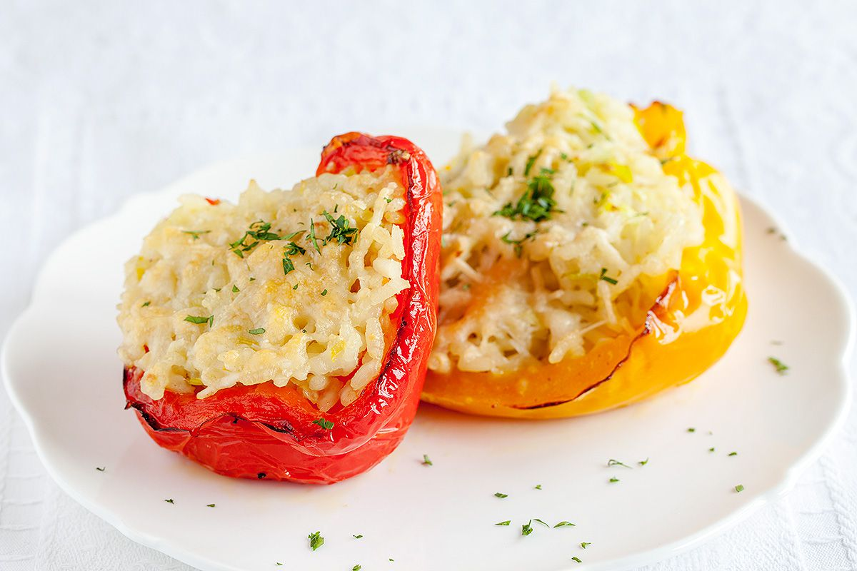 Stuffed bell peppers with risotto rice