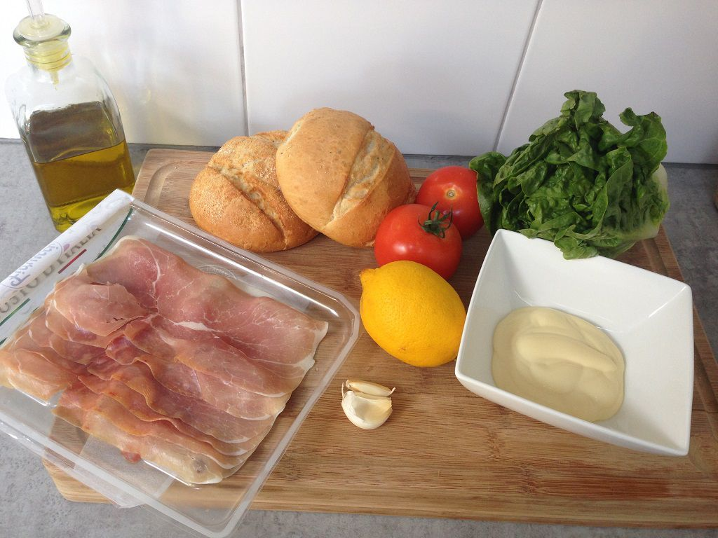 Prosciutto lettuce and tomato sandwich ingredients - Prosciutto sandwich