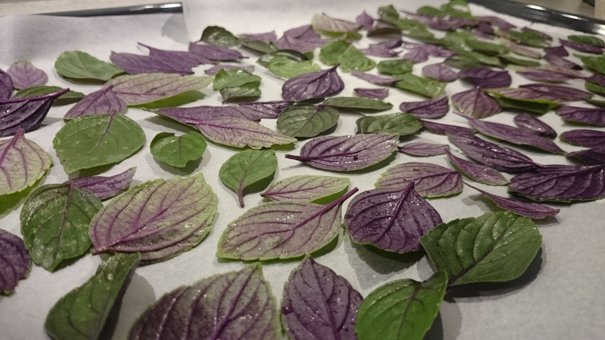 Add leaves to the baking plate
