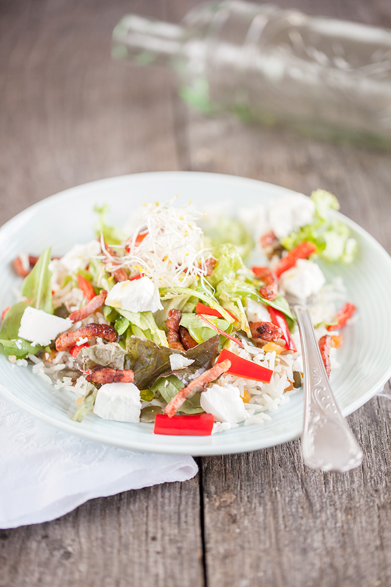 Nut rice goat cheese salad