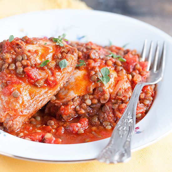Chicken Veronique Recipe: Rustic Chicken Cutlets With Lentils And Tomatoes