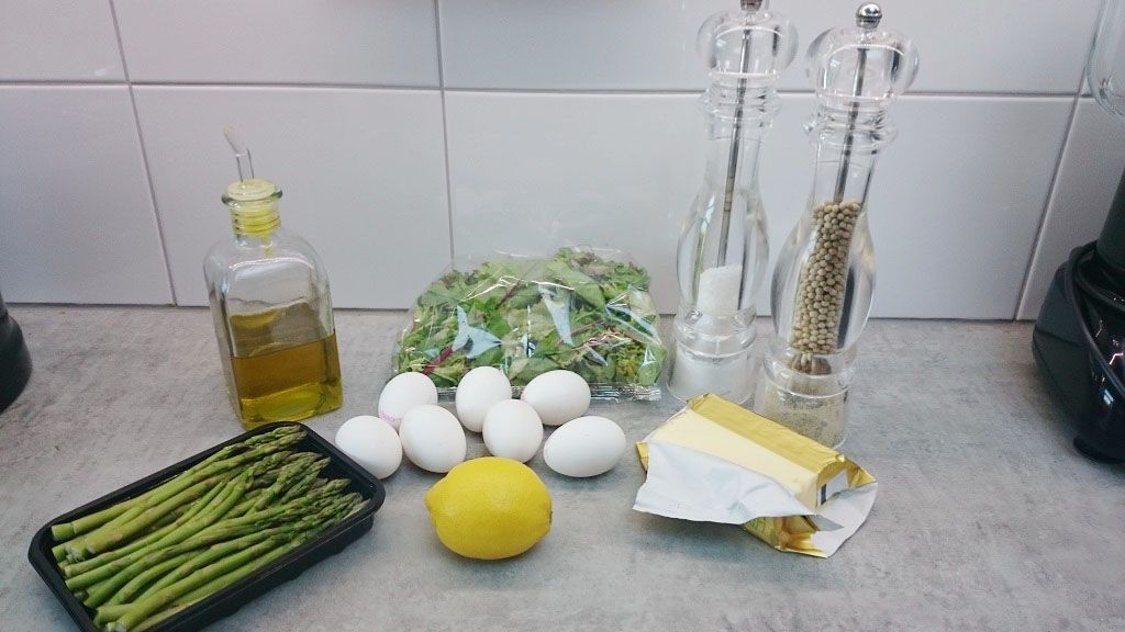 Poached egg asparagus salad ingredients