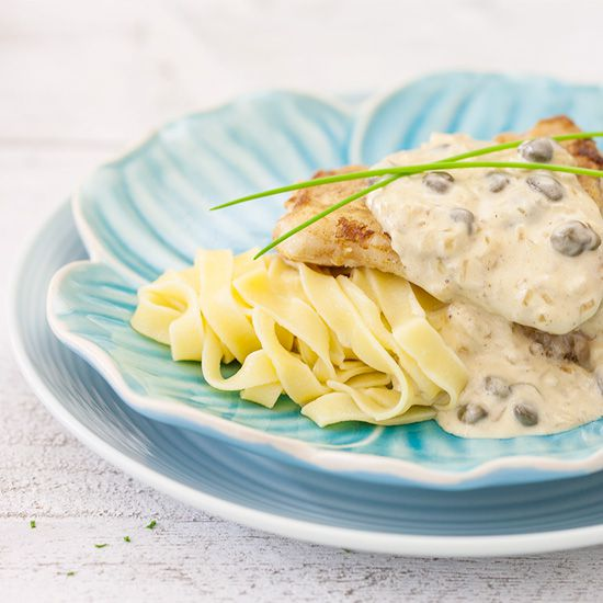 Cod with creamy caper sauce square - Cod with creamy caper sauce