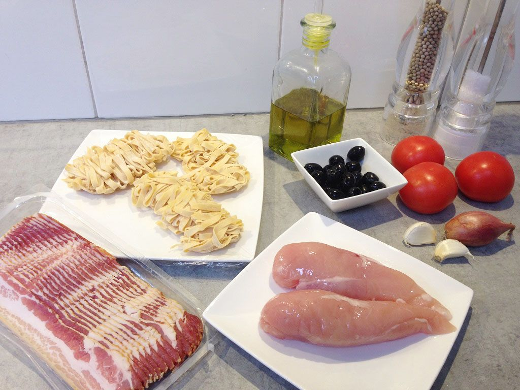 Home-made pasta with bacon wrapped chicken ingredients