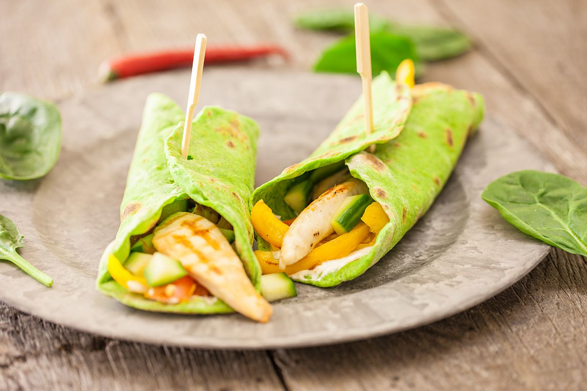 Home-made spinach tortillas