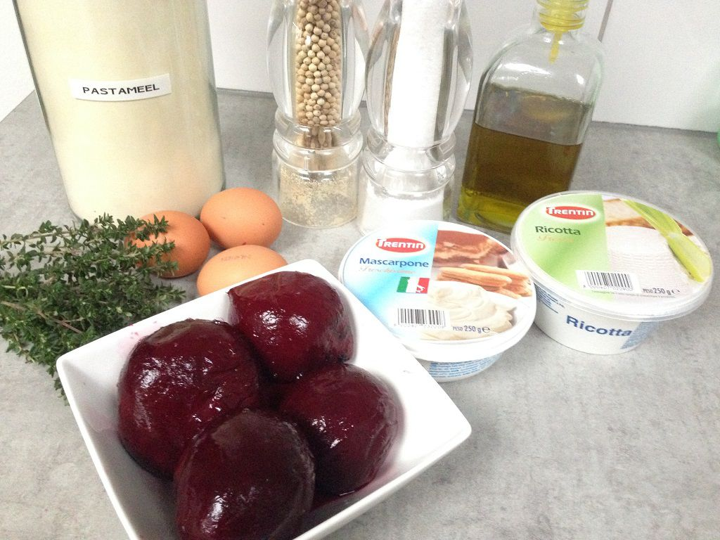 Red beet ravioli ingredients