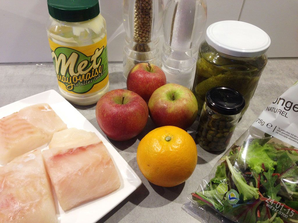 Cod and apple salad ingredients