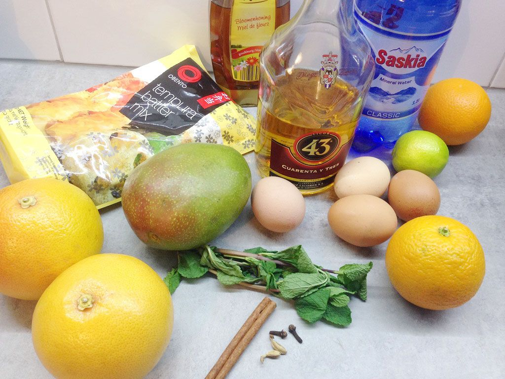 Mango tempura dessert ingredients