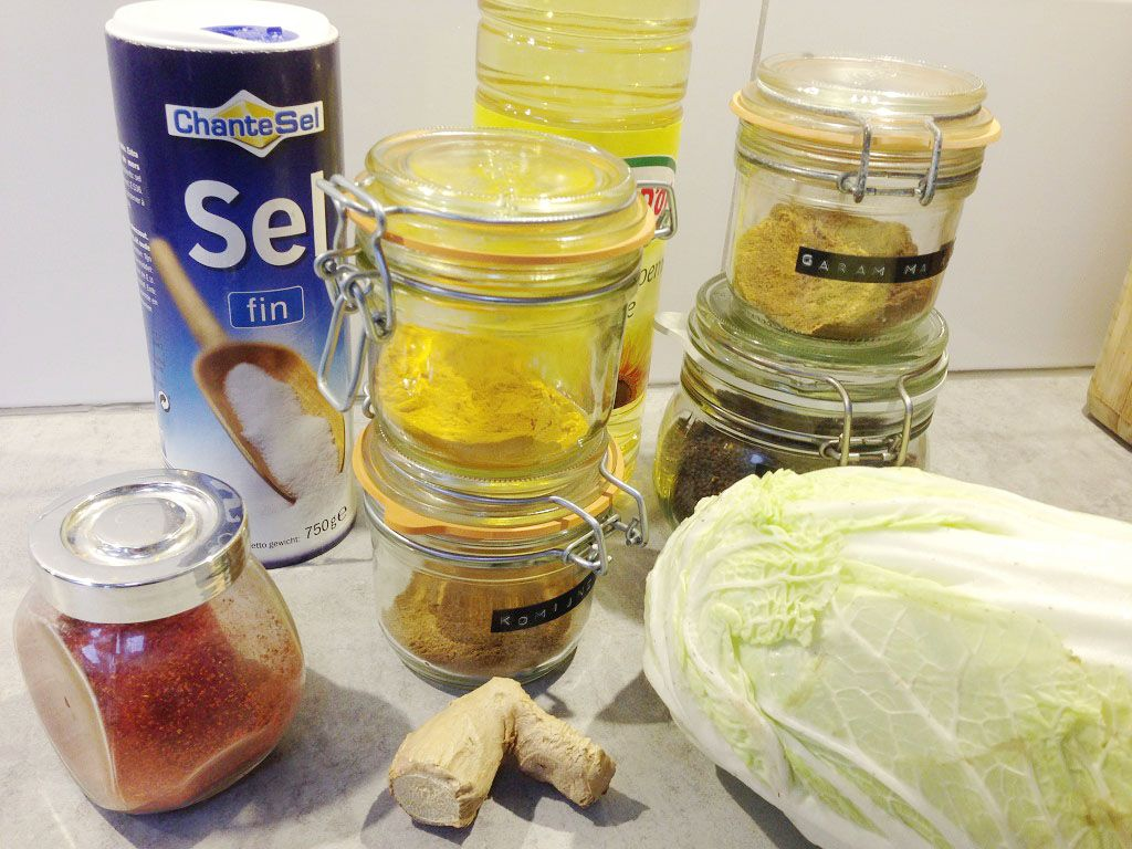 Spicy cabbage masala ingredients