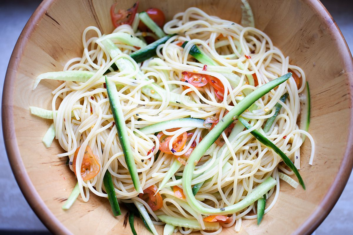Sweet and spicy cucumber noodles