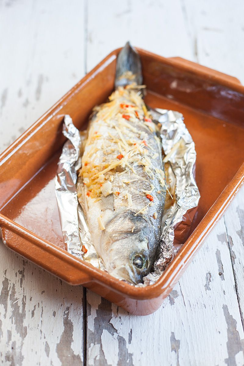 Baked sea bass with lemongrass and ginger 2 - Baked sea bass with lemongrass and ginger