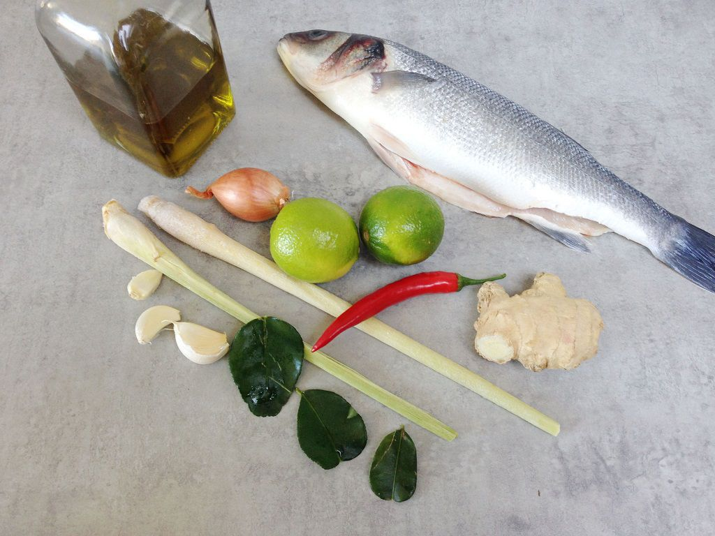 Baked sea bass with lemongrass and ginger ingredients
