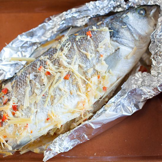 Baked sea bass with lemongrass and ginger square - Baked sea bass with lemongrass and ginger