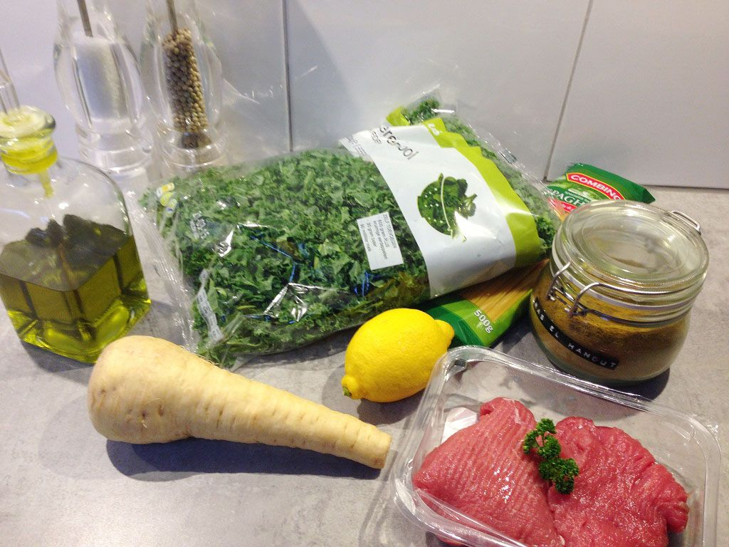 Beef kale and parsnip with ras el hanout sauce ingredients