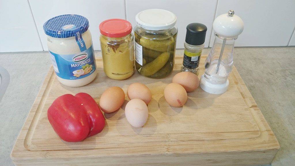 Classic deviled eggs ingredients