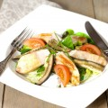 Oven roasted eggplant with chicken salad 120x120 - Peach and chicken salad