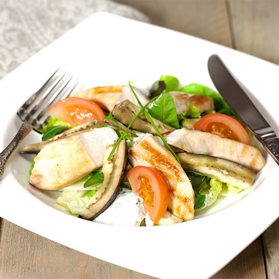 Oven roasted eggplant with chicken salad