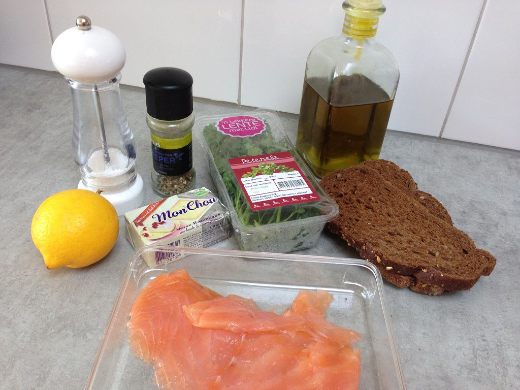 Smoked salmon with herb cheese toast ingredients - Smoked salmon with herb cheese toast