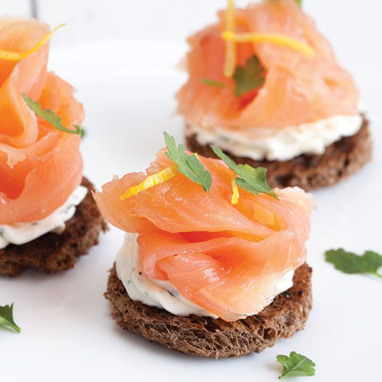 Smoked salmon with herb cheese toast square - Smoked salmon with herb cheese toast