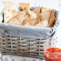 Tortilla chips with red pepper dip