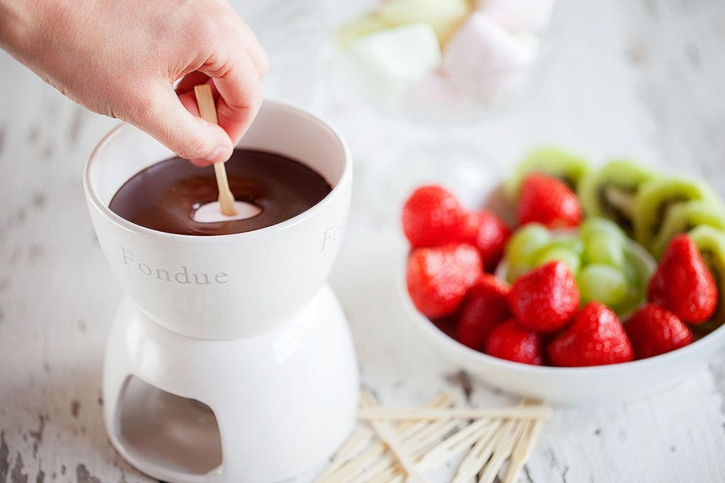 Chocolate and strawberry fondue