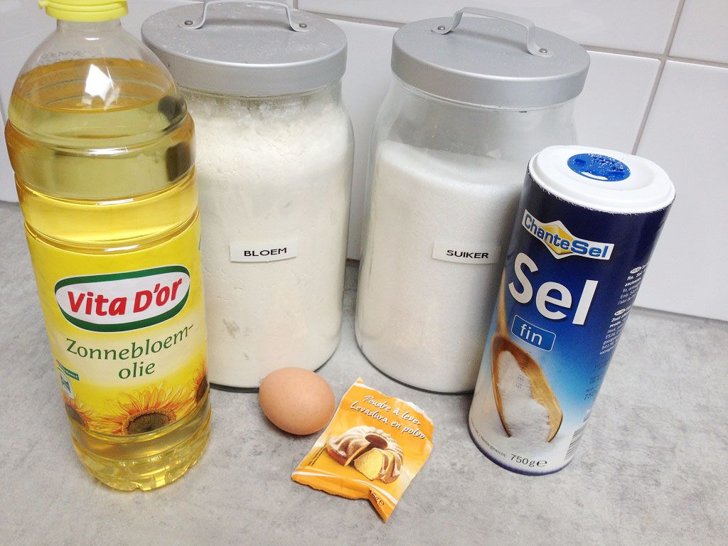 Home-made naan bread ingredients