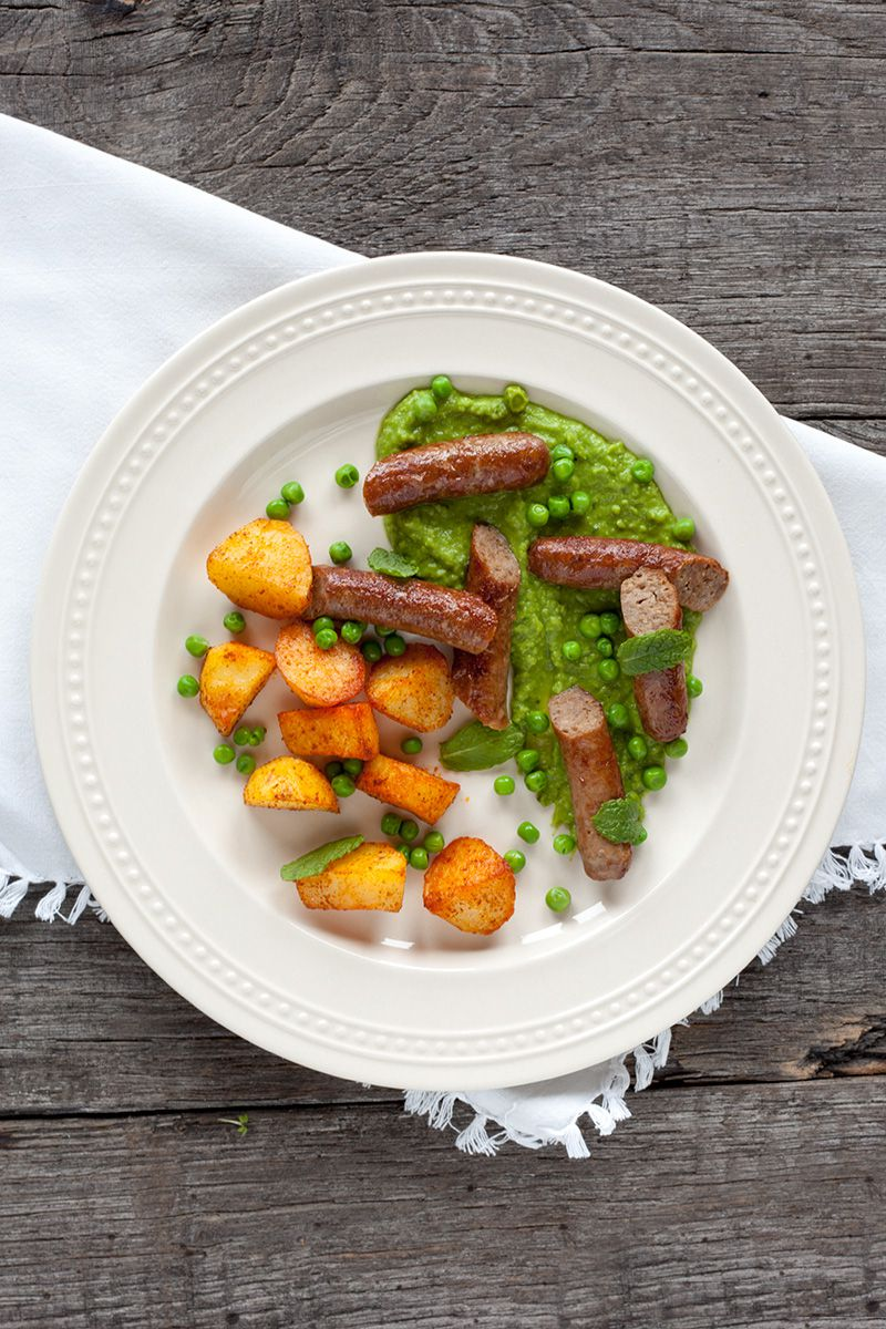 Lamb sausages with minted pea puree