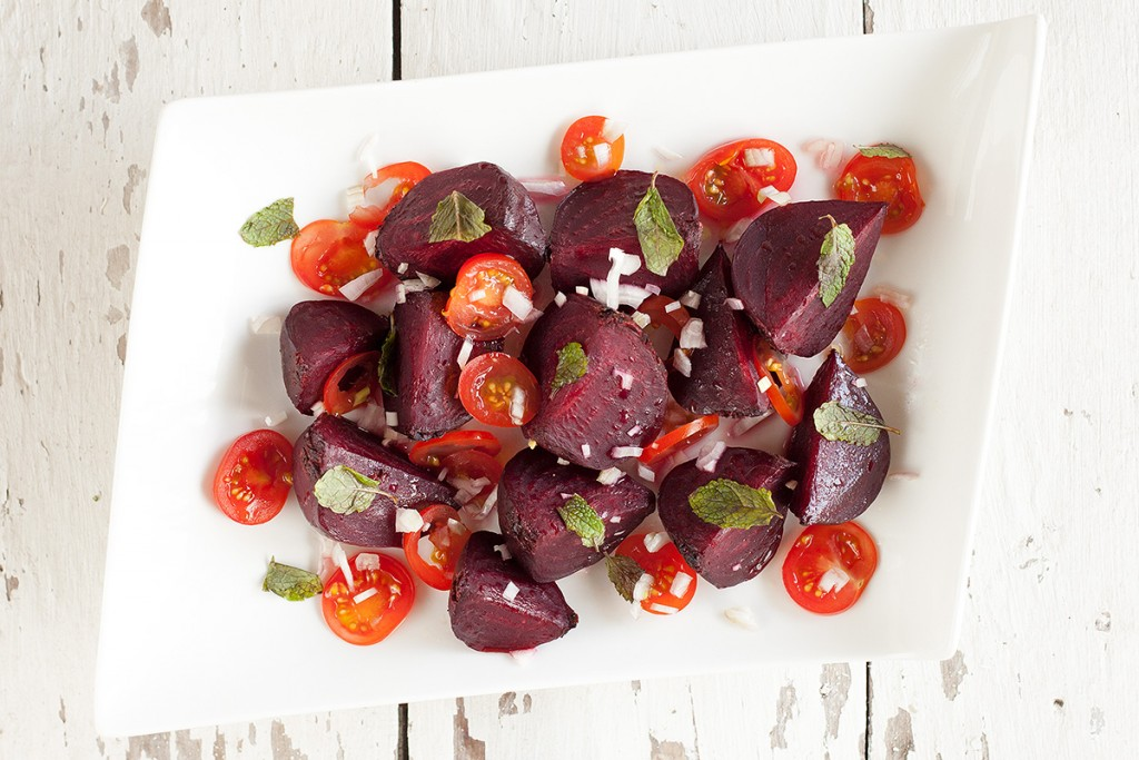 Roasted red beets and tomato salad