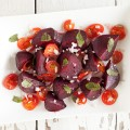 Roasted beets and tomato salad 120x120 - Beer shallot bread