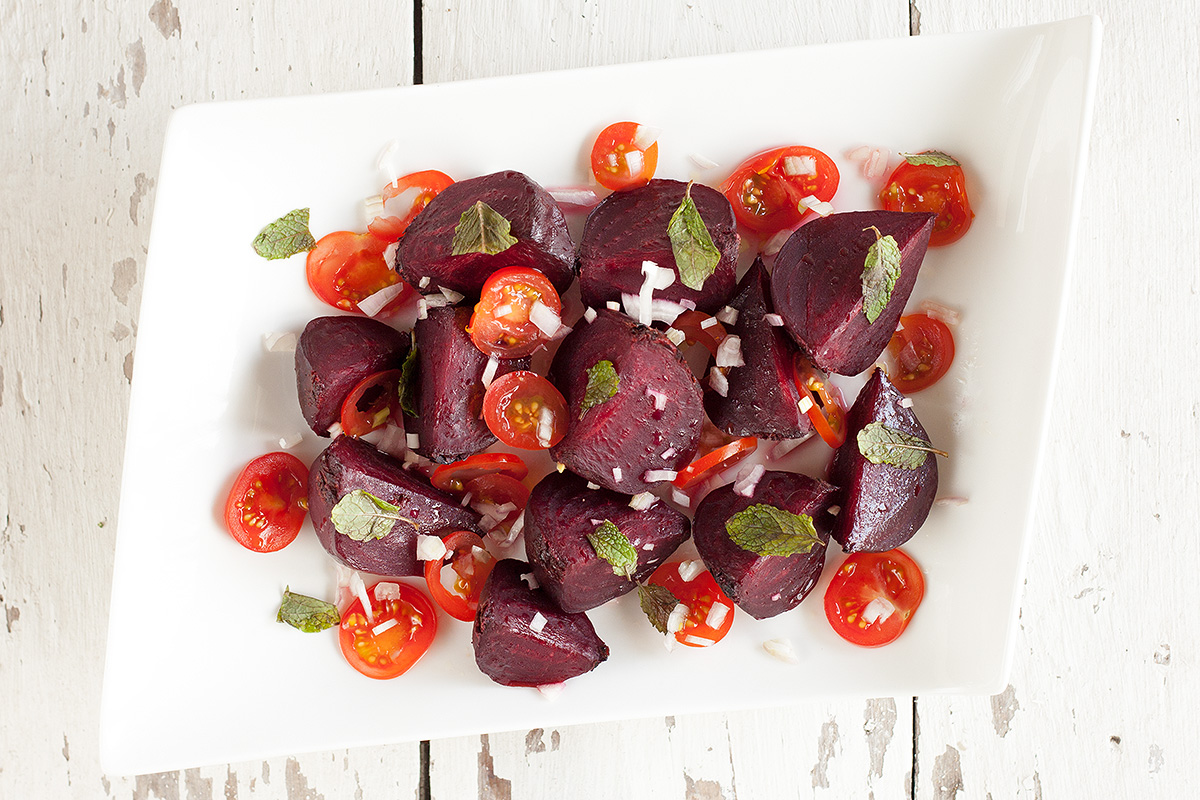 Roasted beets and tomato salad