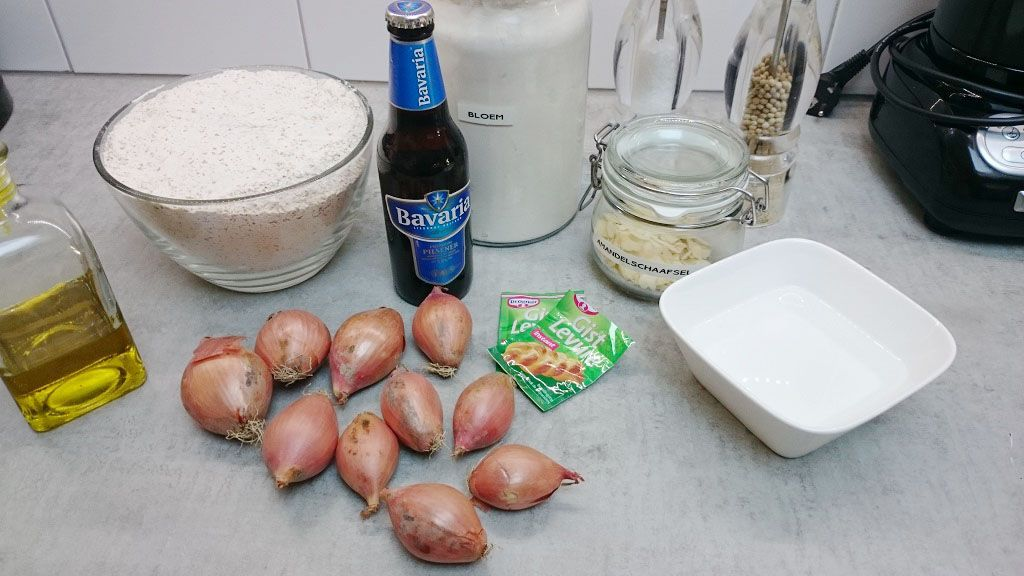 Shallot bread ingredients - Beer shallot bread