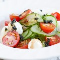 Spiral cucumber mini mozzarella salad