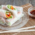 Vegetarian rice paper rolls 120x120 - Chicken and sesame spring rolls