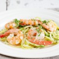 Courgette spaghetti with shrimp and coconut curry 120x120 - Edamame and garlic spaghetti