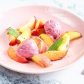 Sage ice cream with oven roasted peaches