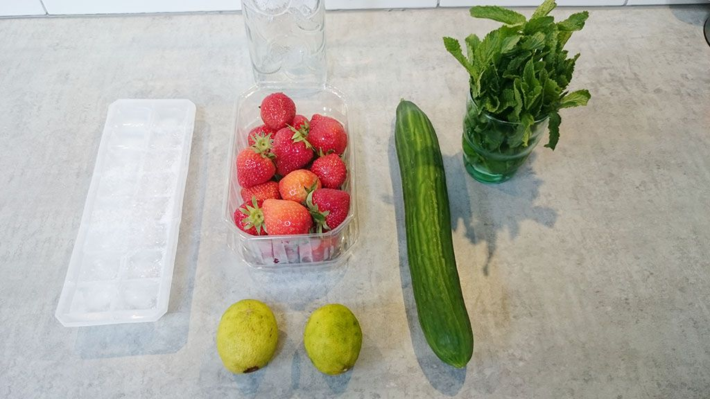 Strawberry lime cucumber and mint water ingredients - Strawberry, lime, cucumber and mint water