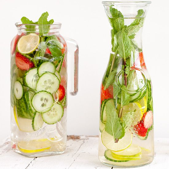 Strawberry lime cucumber and mint water square - Strawberry, lime, cucumber and mint water