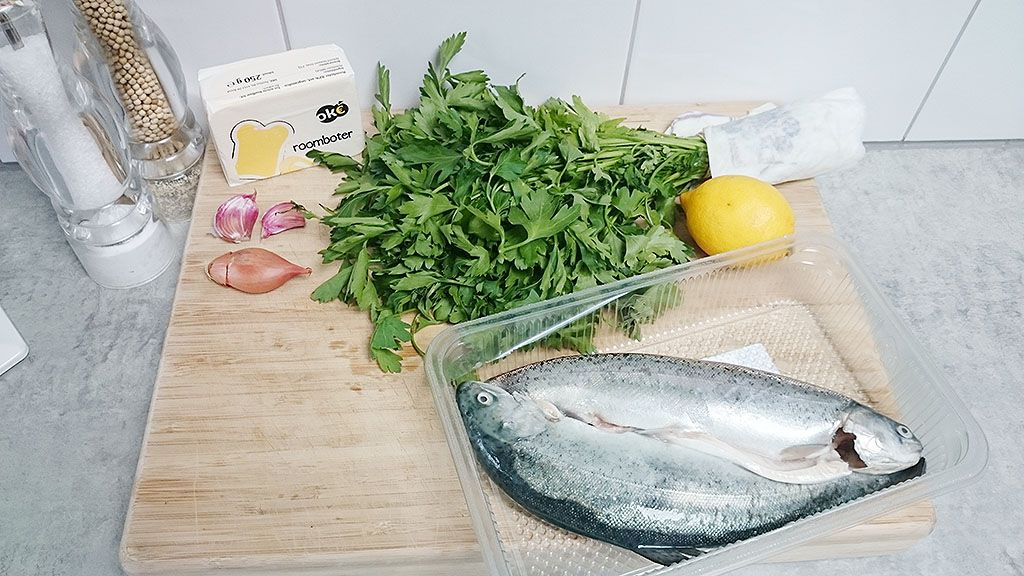 Trout with herb butter ingredients