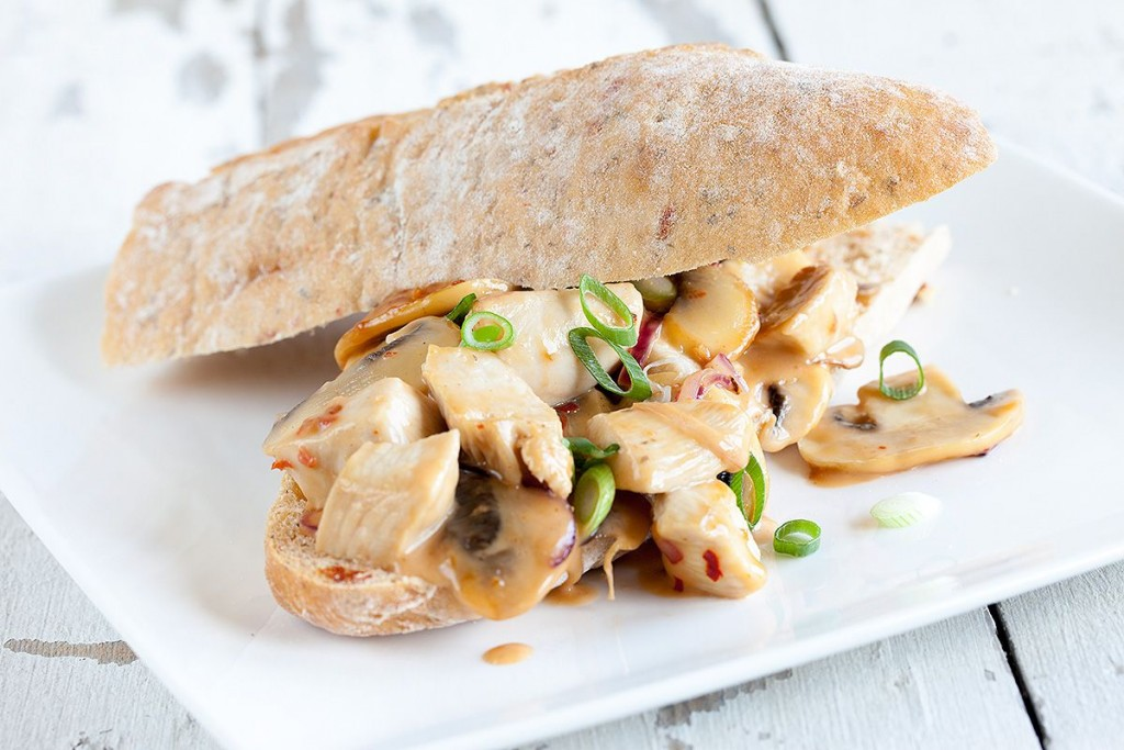 Chicken and mushroom sandwich