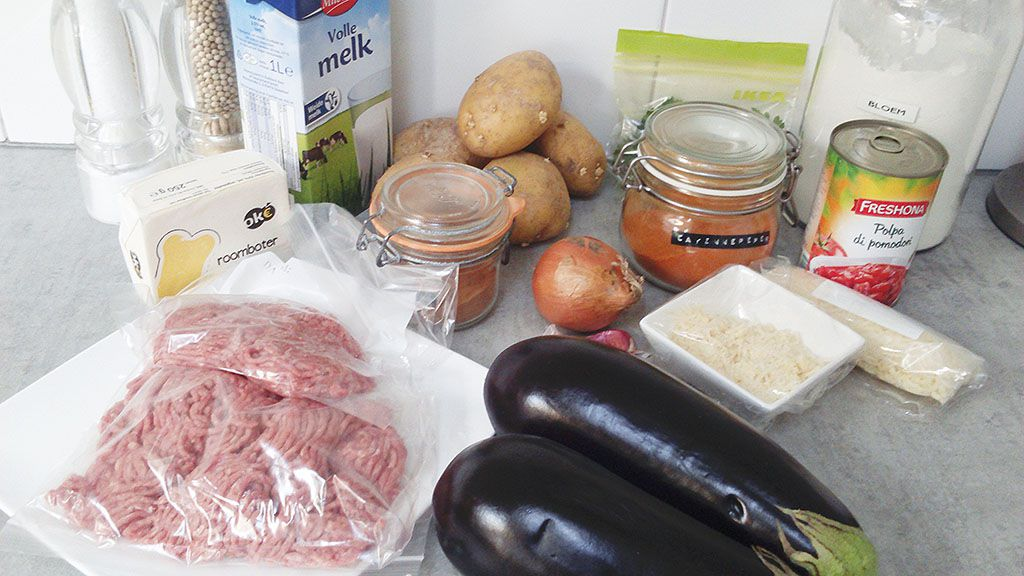 Greek moussaka ingredients
